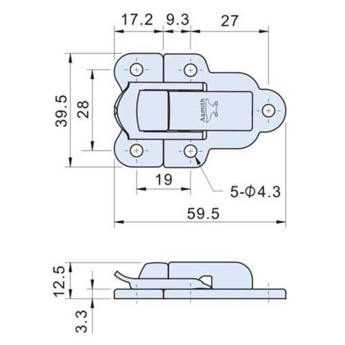 Nickel Plated Case Toggle Latch L=60mm C-6510