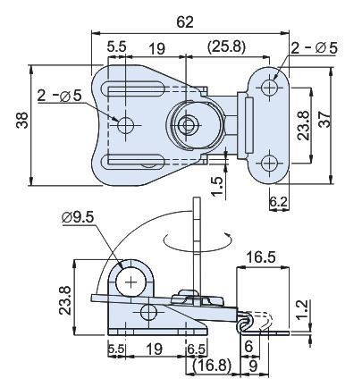 Stainless Steel Half Turn Latch with Padlock Hole L=62mm