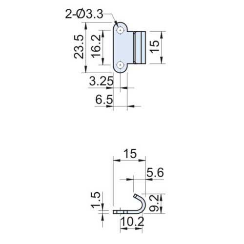 Zinc Plated Catch Plate Width=15mm CT-0412-2
