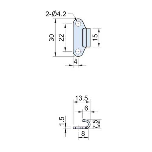 Zinc Plated Catch Plate Width=15mm CT-27100-2