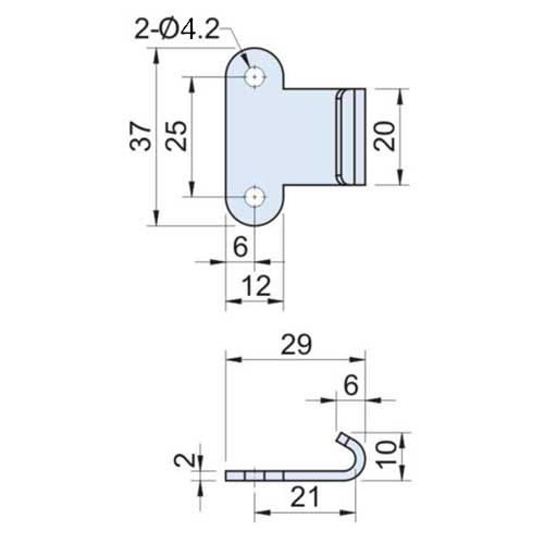20mm Toggle Catch Plate in Stainless Steel 304 CS-0120-6